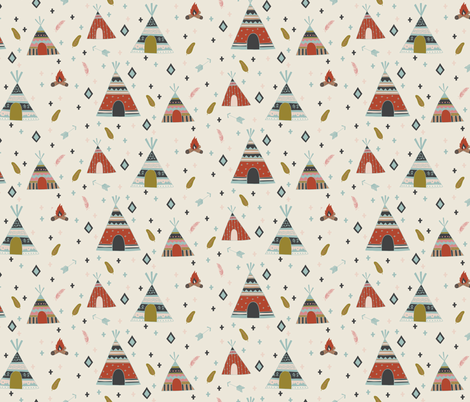 Free Spirit - Teepees fabric by scarlette_soleil on Spoonflower - custom fabric