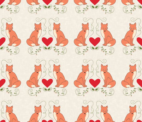 fox print cream texture fabric by fossyboots on Spoonflower - custom fabric