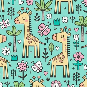 Giraffe Flowers,Butterfly & Trees on Green Mint