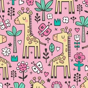Giraffe Flowers,Butterfly & Trees on Pink