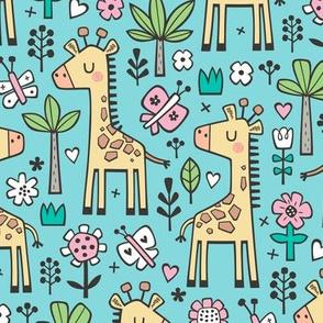 Giraffe Flowers,Butterfly & Trees on Blue