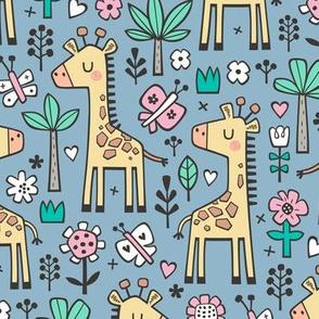 Giraffe Flowers,Butterfly & Trees on Blue Denim