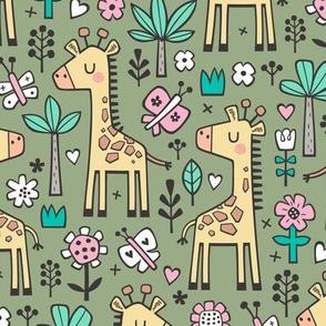Giraffe Flowers,Butterfly & Trees on Green Olive