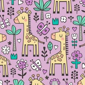 Giraffe Flowers,Butterfly & Trees on Lavender Purple