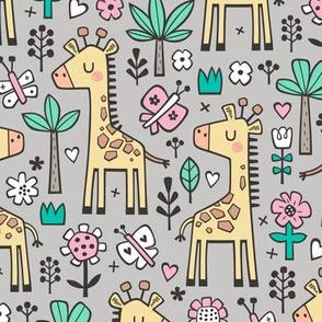 Giraffe Flowers,Butterfly & Trees on Light Grey