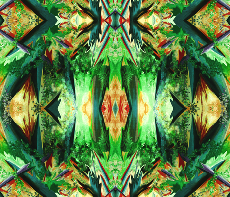 AF5 Alien Fantasy  in greens, orange  and rust fabric by maryyx on Spoonflower - custom fabric