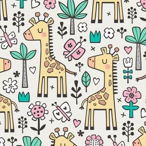 Giraffe Flowers,Butterfly & Trees on Cloud Grey