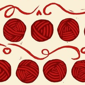 red yarn block print