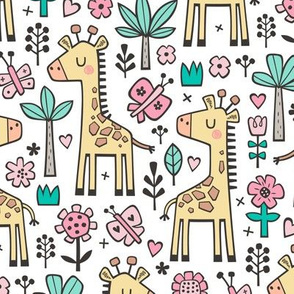 Giraffe Flowers,Butterfly & Trees on White