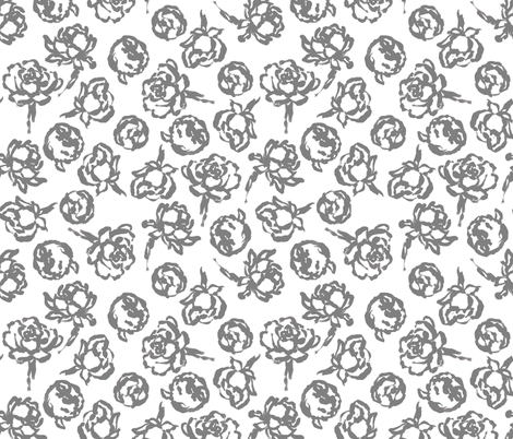 akHOME Vintage Roses GREY fabric by alisonkent_akhome on Spoonflower - custom fabric