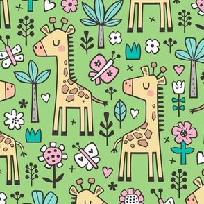 Giraffe Flowers,Butterfly & Trees on Green