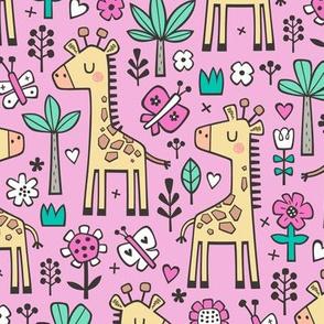Giraffe Flowers,Butterfly & Trees on Magenta Pink
