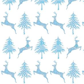 Deer in a Forest a festive winter scene