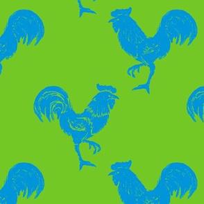 cockerel blue on green