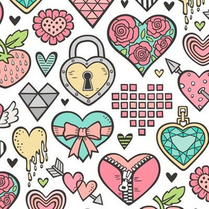 Hearts Doodle Valentine Love Peach Mint Green