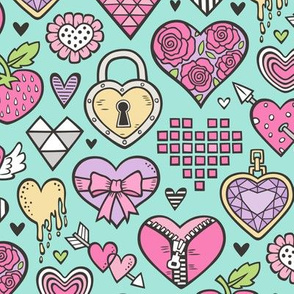 Hearts Doodle Valentine Love Purple Lilac Pink on Mint Green