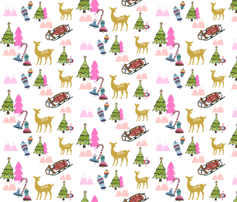 Christmas Meadow 676 - pink fabric by drapestudio on Spoonflower - custom fabric