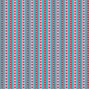 Concentric Hearts Turquoise Coordinating Stripes