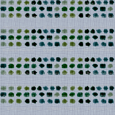 Dots green, turquoise, blue on grey background