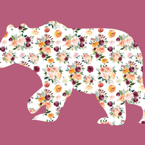 """42x36"""" Bear Silhouette on Mauve 1 Wholecloth Quilt Topper"""