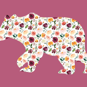 """42x36"""" Bear Silhouette on Mauve Wholecloth Quilt Topper"""