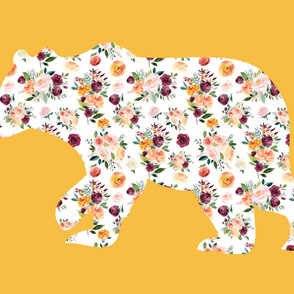 """42x36"""" Bear Silhouette on Mustard 1 Wholecloth Quilt Topper"""