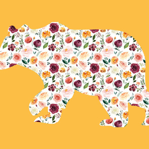 """42x36"""" Bear Silhouette on Mustard Wholecloth Quilt Topper"""