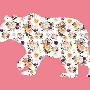 """42x36"""" Bear Silhouette on Pink 1 Wholecloth Quilt Topper"""