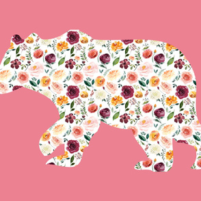 """42x36"""" Bear Silhouette on Pink Wholecloth Quilt Topper"""