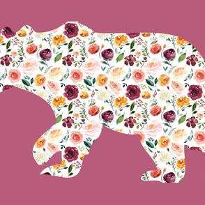 """54x36"""" Bear Silhouette on Mauve Wholecloth Quilt Topper"""