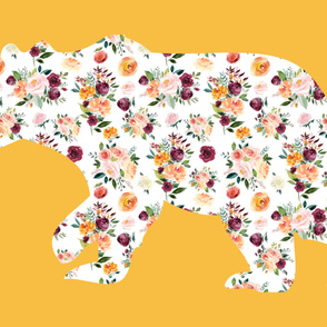 """54x36""""  Bear Silhouette on Mustard 1 Wholecloth Quilt Topper"""
