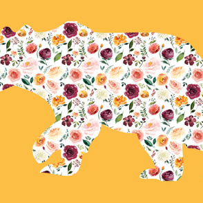 """54x36""""  Bear Silhouette on Mustard Wholecloth Quilt Topper"""