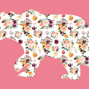 """54x36"""" Bear Silhouette on Pink 1 Wholecloth Quilt Topper"""