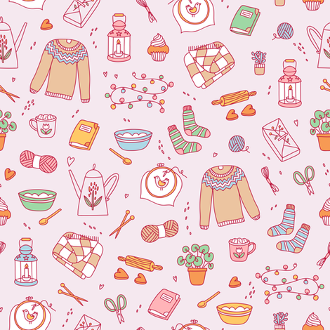 Hygge cozy pattern fabric by stolenpencil on Spoonflower - custom fabric