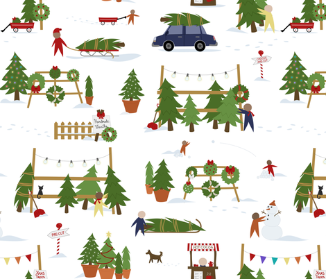 Scene from a Christmas Lot fabric by calobeedoodles on Spoonflower - custom fabric