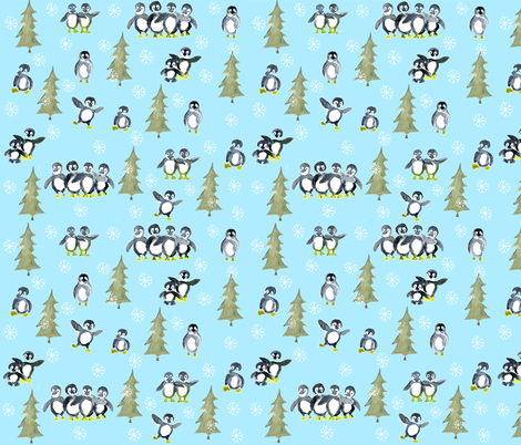 Penguin party fabric by annahedeklint on Spoonflower - custom fabric