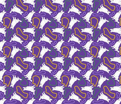 Tiny White Shepherd dogs - Mardi Gras fabric by rusticcorgi on Spoonflower - custom fabric