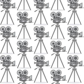 small grey vintage-movie-camera