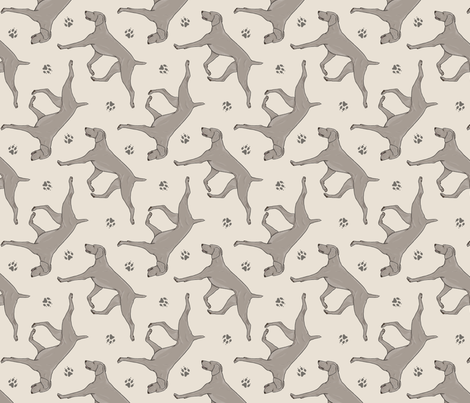 Trotting Weimaraner and paw prints - beige fabric by rusticcorgi on Spoonflower - custom fabric