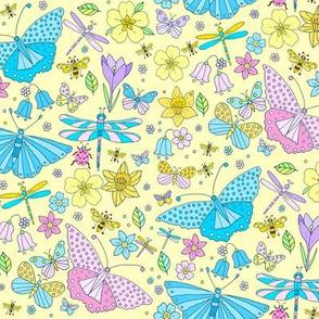 Pink & Blue Butterflies, Yellow