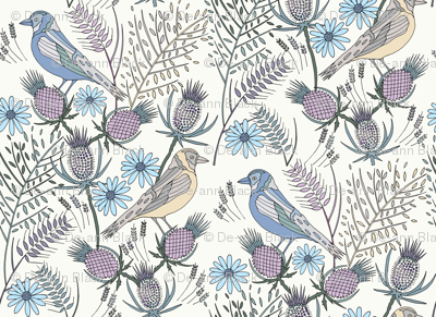 Thistle Birds, Cream