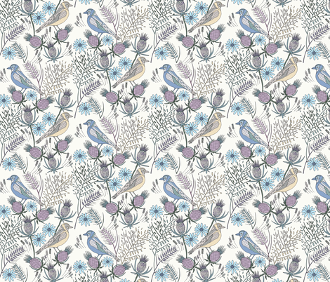 Thistle Birds, Cream fabric by de-ann_black on Spoonflower - custom fabric