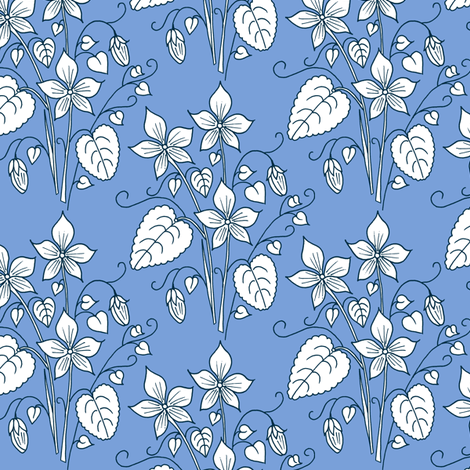 Violets, Blue fabric by de-ann_black on Spoonflower - custom fabric