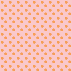 polka dots 2x2 med - petal orange