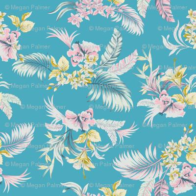 Maui Floral - bright blue