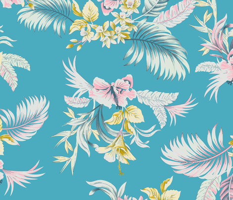 Maui Floral - bright blue fabric by meganpalmer on Spoonflower - custom fabric