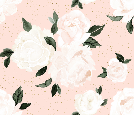 vintage blush floral fabric by crystal_walen on Spoonflower - custom fabric
