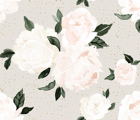 vintage blush floral on soft sage fabric by crystal_walen on Spoonflower - custom fabric