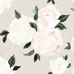 vintage blush floral on soft sage