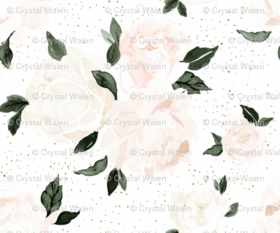 vintage blush floral white
